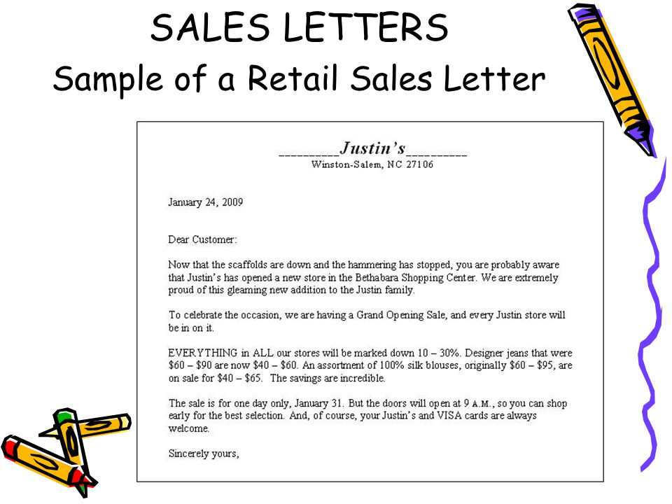 12 SALES LETTERS Sample Of A Retail Sales Letter  Persuasive Sales Letter Example