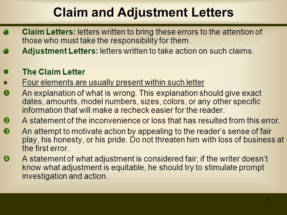 Specific types of business letters ppt video online download claim and adjustment letters thecheapjerseys Choice Image