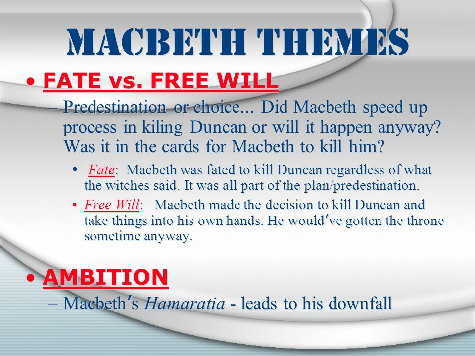 macbeth fate vs free will essay Essays from bookrags provide great ideas for macbeth essays and paper topics like essay view this student essay about macbeth.