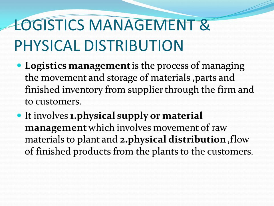 materials management and logistics The objectives of materials logistics management which are to reduce inventories while maintaining strategic stocks, improve product quality, minimize the total cost of operations and procurement, ensure service levels to customers and minimize variance materials flow (naim and towil 1994.