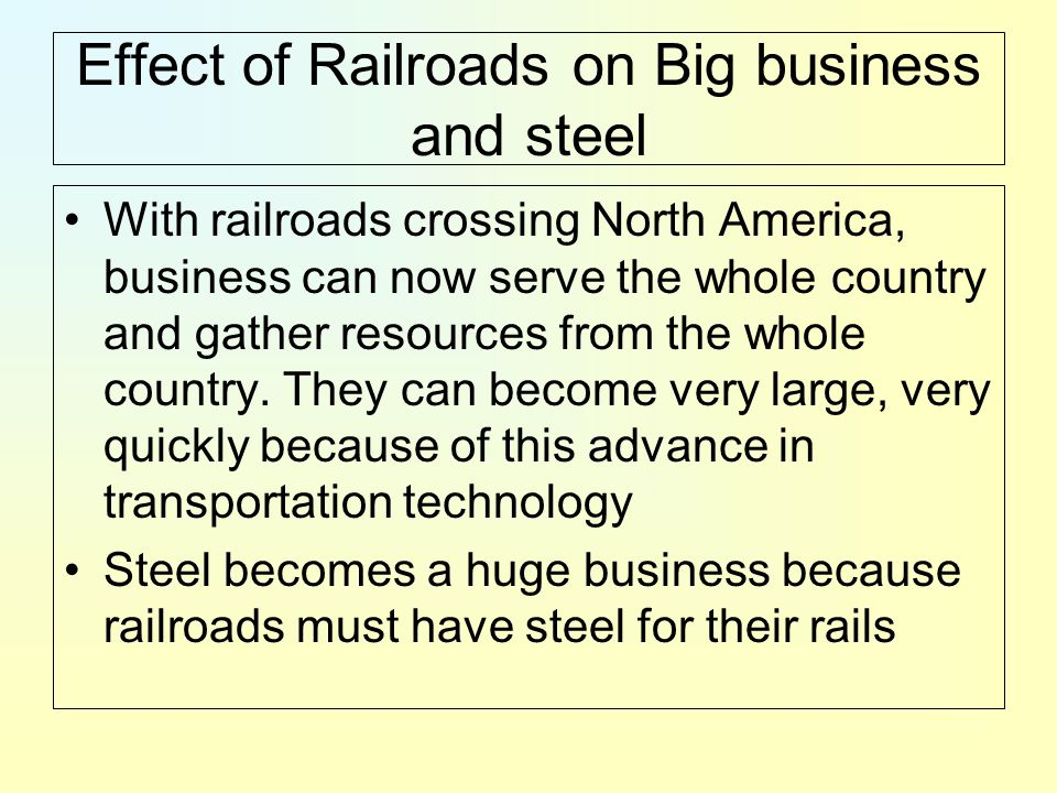 the impact of railroads in america Connecting america's communities  american short line and regional  railroad association (aslrra) today released an economic impact report,  prepared.