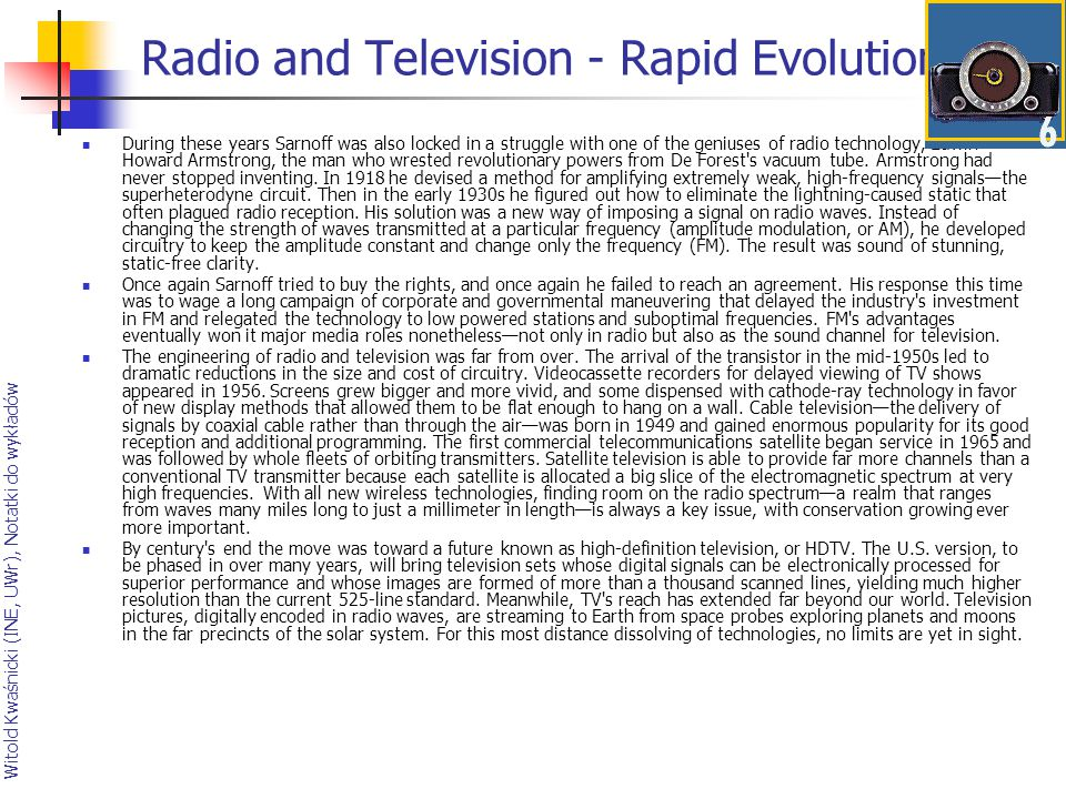 Radio and Television - Rapid Evolution