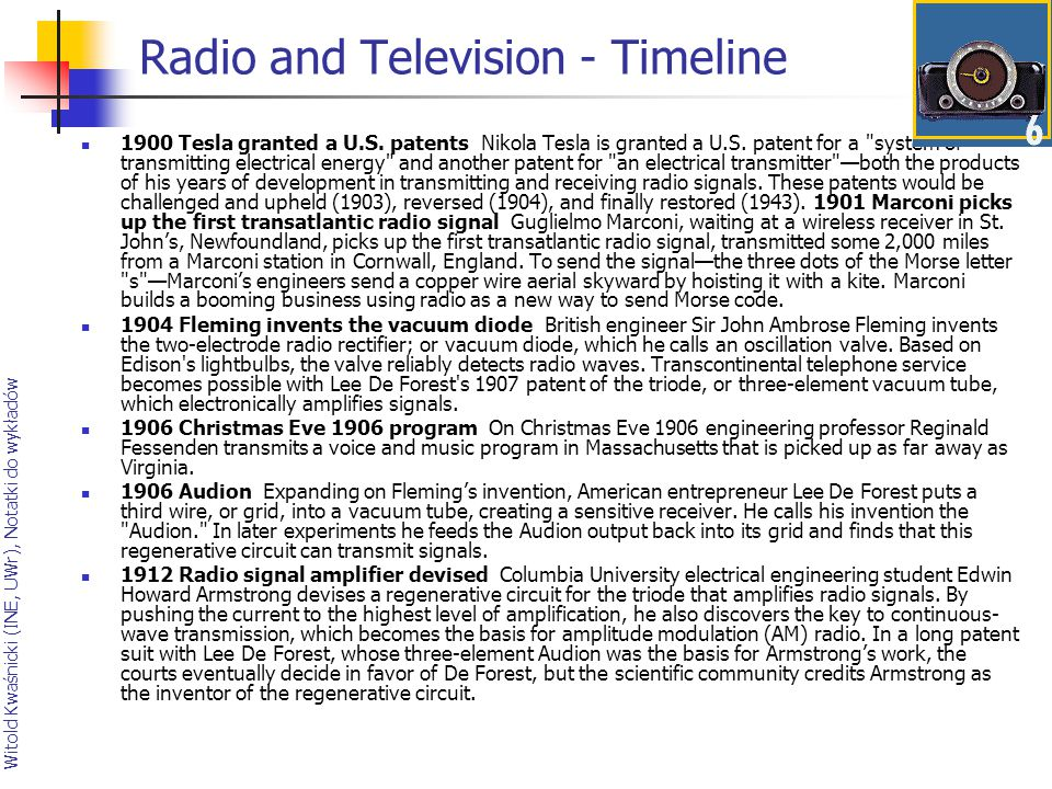 Radio and Television - Timeline