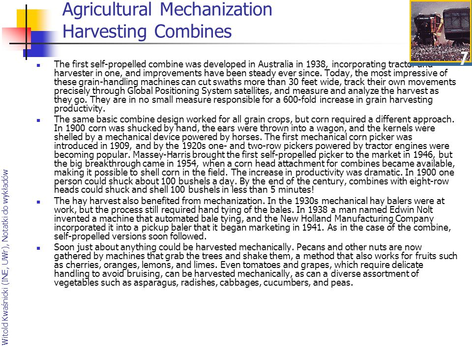 Agricultural Mechanization Harvesting Combines
