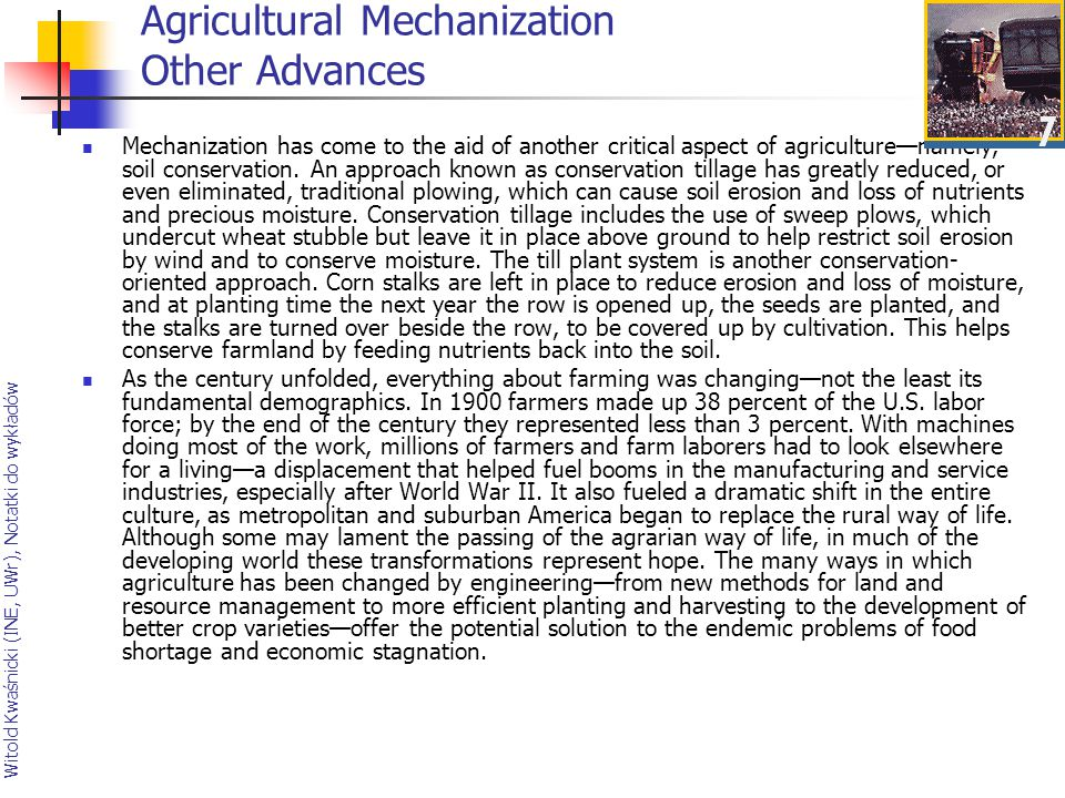 Agricultural Mechanization Other Advances