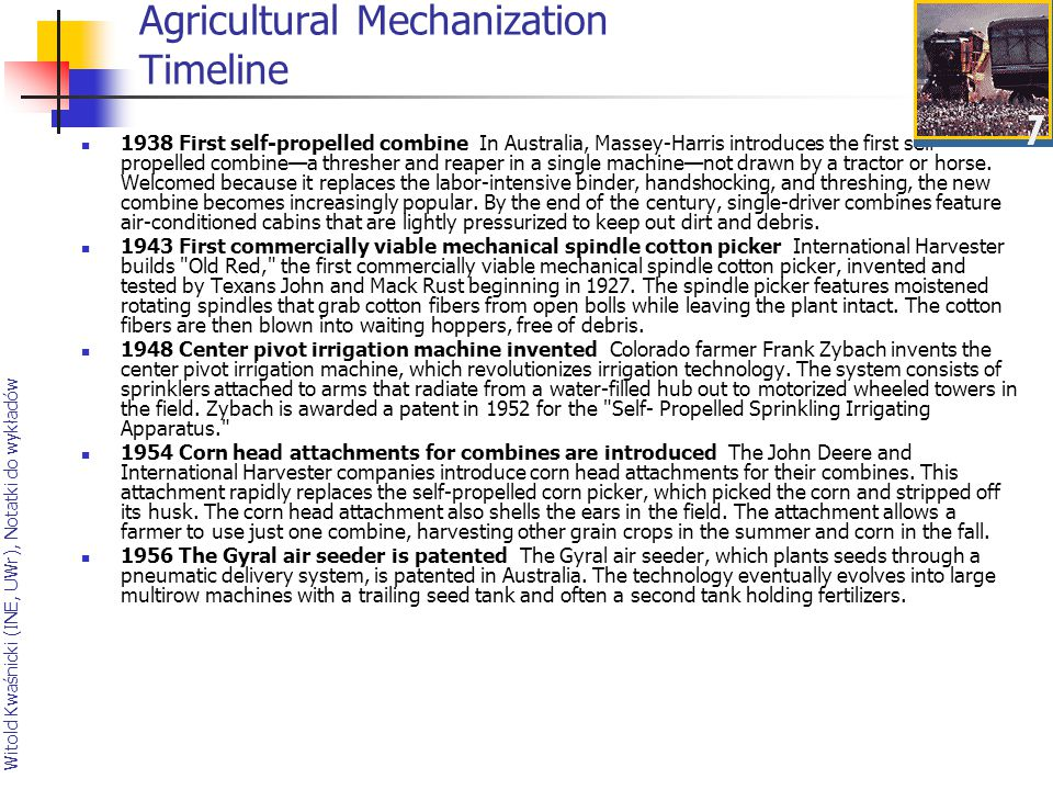 Agricultural Mechanization Timeline
