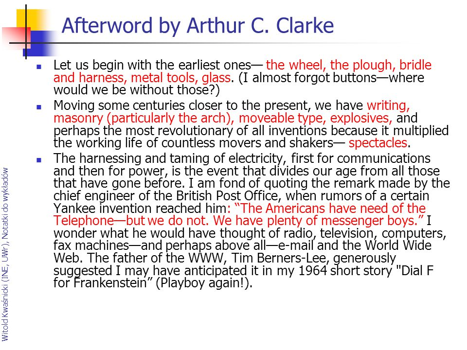 Afterword by Arthur C. Clarke