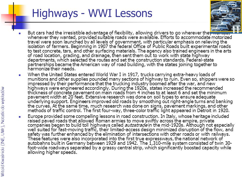 Highways - WWI Lessons