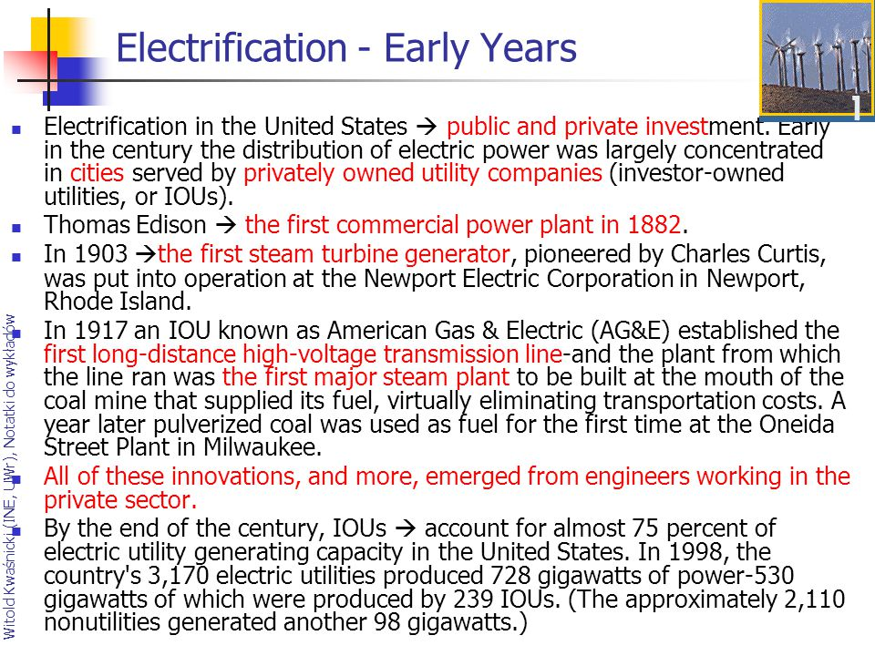 Electrification - Early Years