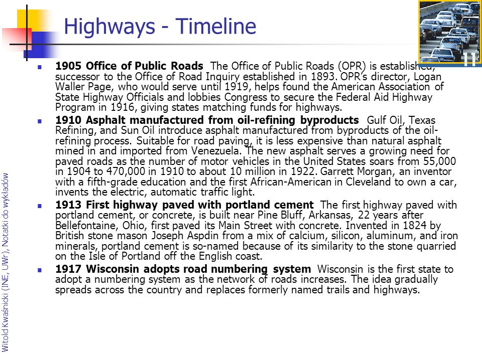 Highways - Timeline
