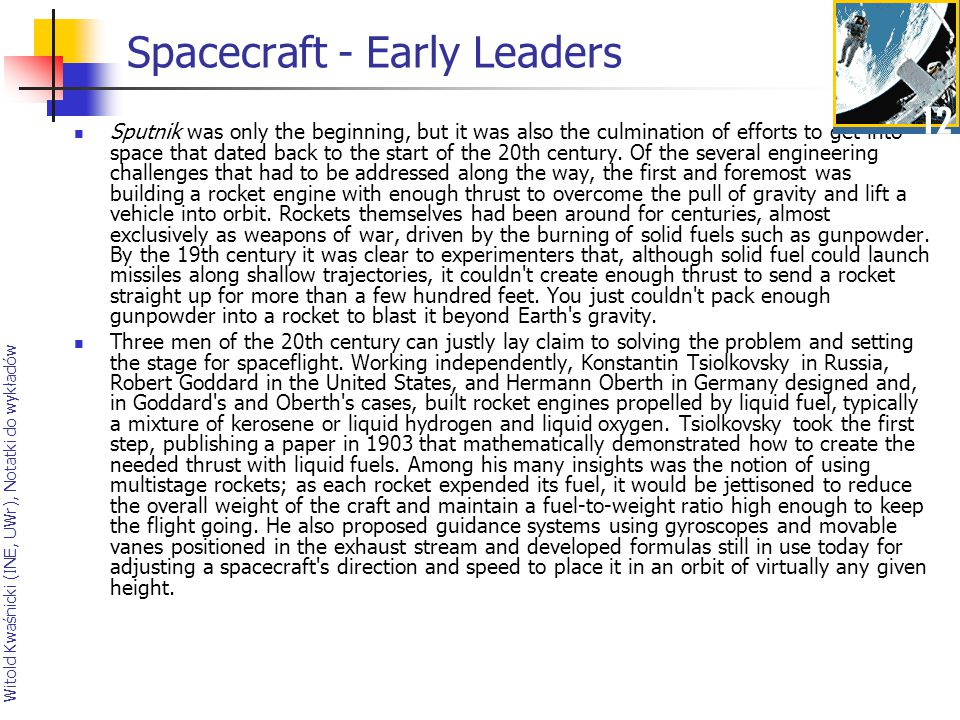 Spacecraft - Early Leaders