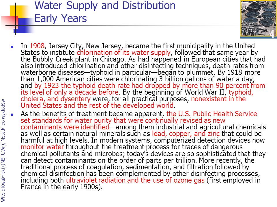 Water Supply and Distribution Early Years