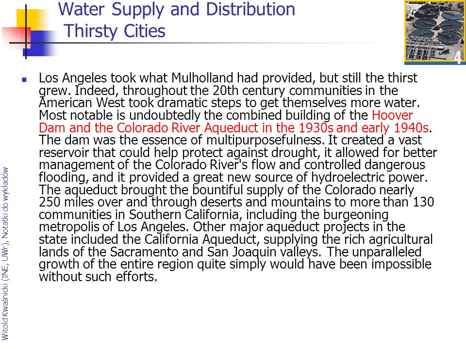 Water Supply and Distribution Thirsty Cities