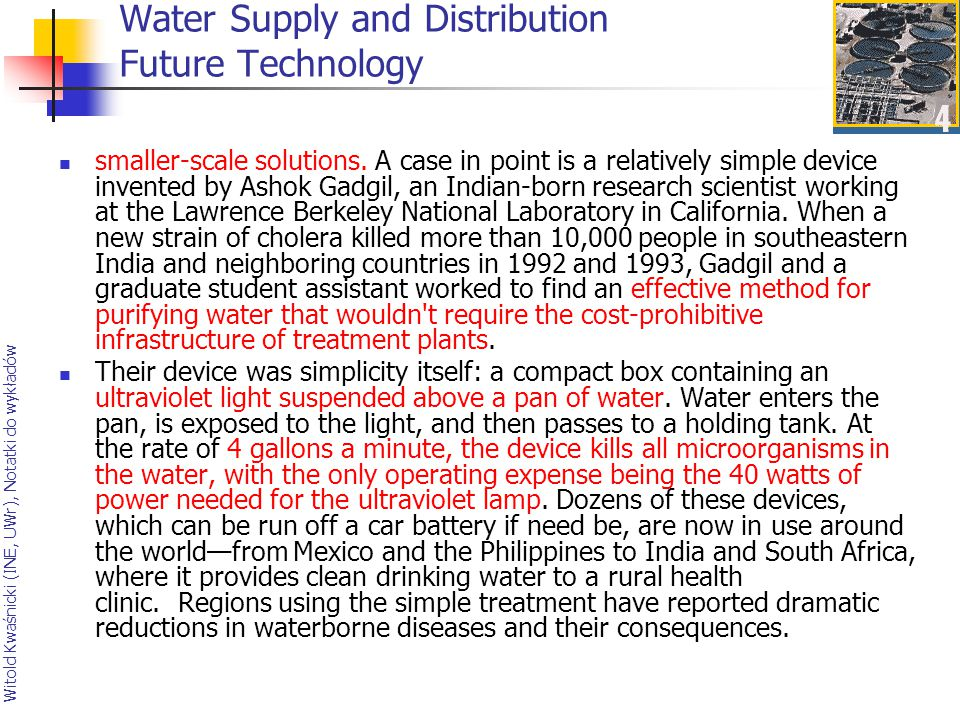 Water Supply and Distribution Future Technology