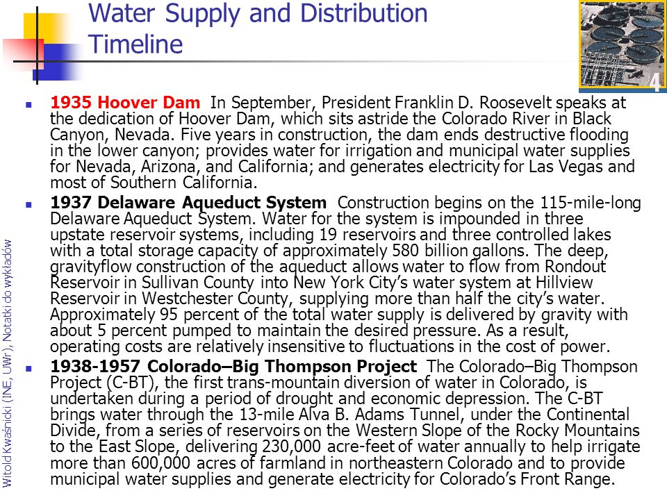 Water Supply and Distribution Timeline