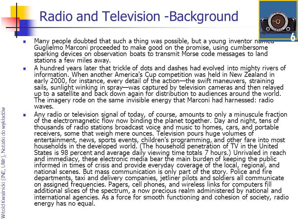 Radio and Television -Background