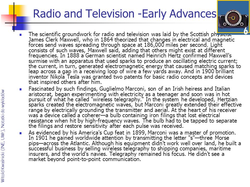 Radio and Television -Early Advances