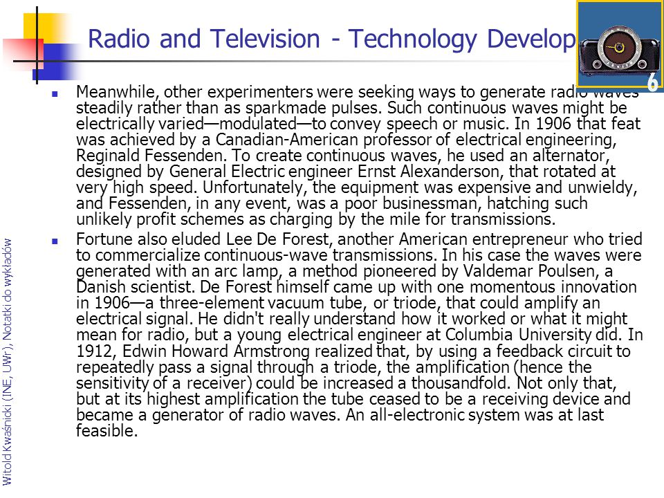 Radio and Television - Technology Develops