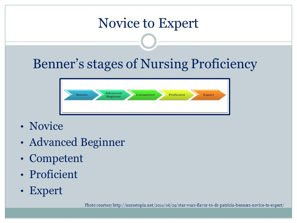 benner s domains of nursing Benner's theory is based on clinical situation interviews and observations of nurses in actual practice from these interviews and observations, 31 competencies and seven domains were identified and described.