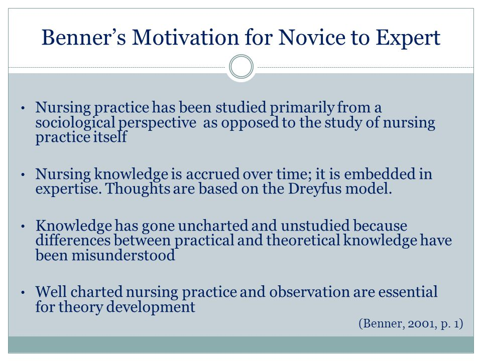 patricia benner major concepts Benner's theory in nursing in 1964 patricia benner obtained her baccalaureate of arts degree from the central concepts of benner's model are those of.