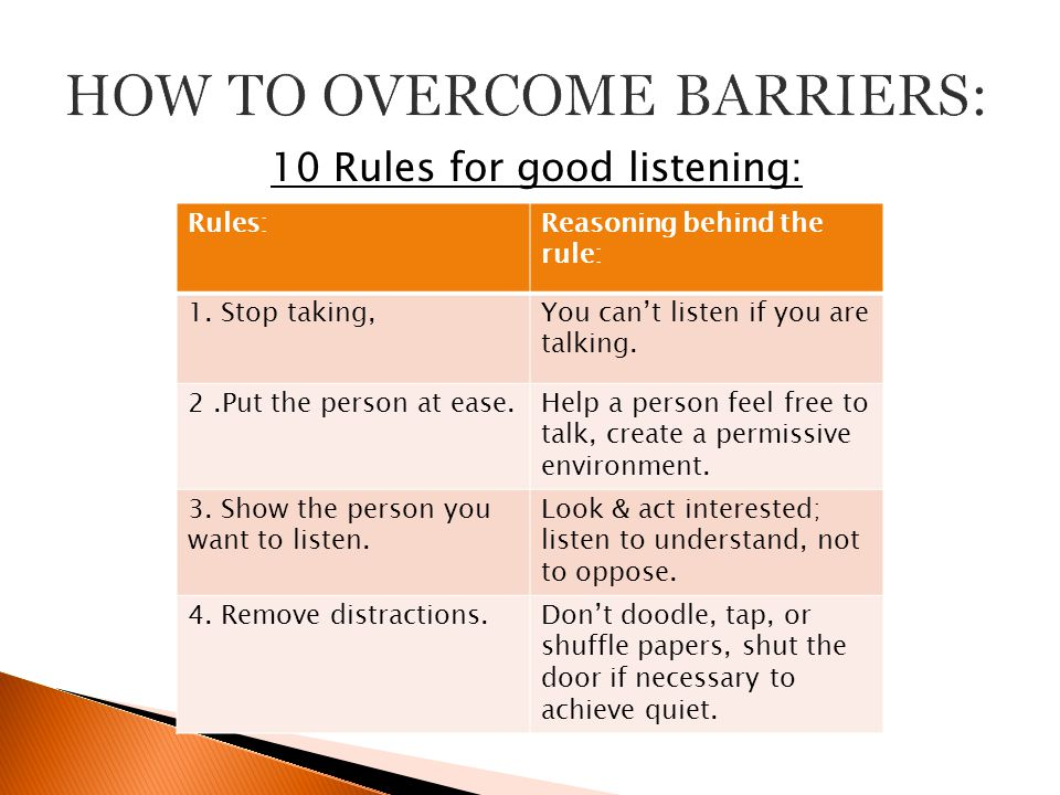 how to overcome listening barriers Many people don't listen well learn how to recognise and avoid barriers to listening improve your listening skills and communicate more effectively.