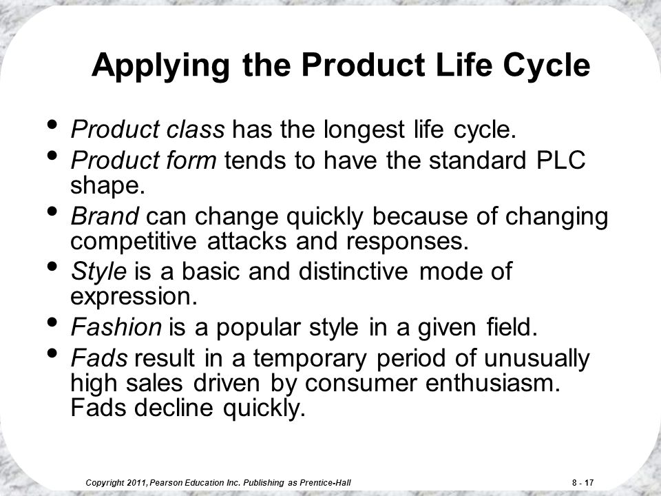 Applying the Product Life Cycle