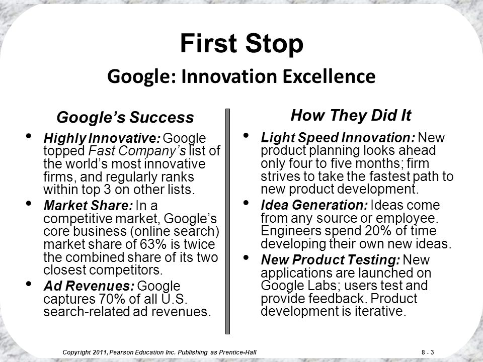 First Stop Google: Innovation Excellence How They Did It