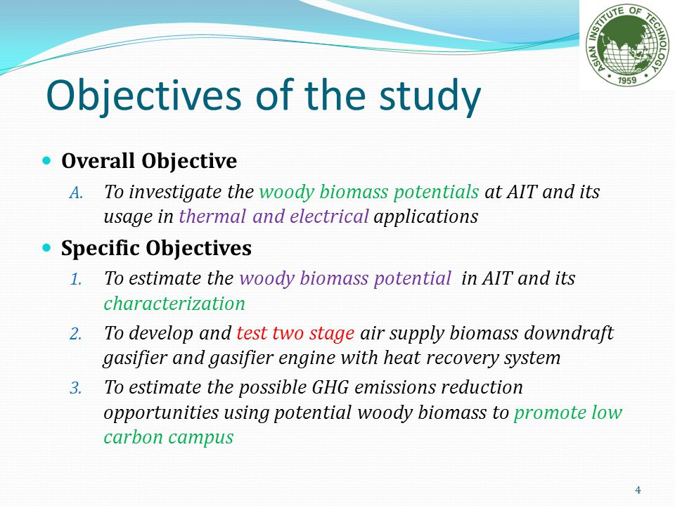 Objective of the study in thesis