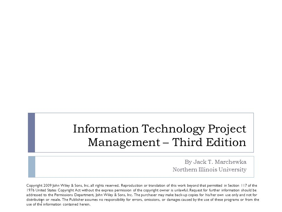 information technology project management by jack t marchewka pdf