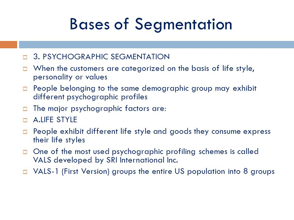basis of segmentation A market segmented into sub-markets on the basis of geographic location is  known as geographic segmentation examples of such division are nations,  states,.
