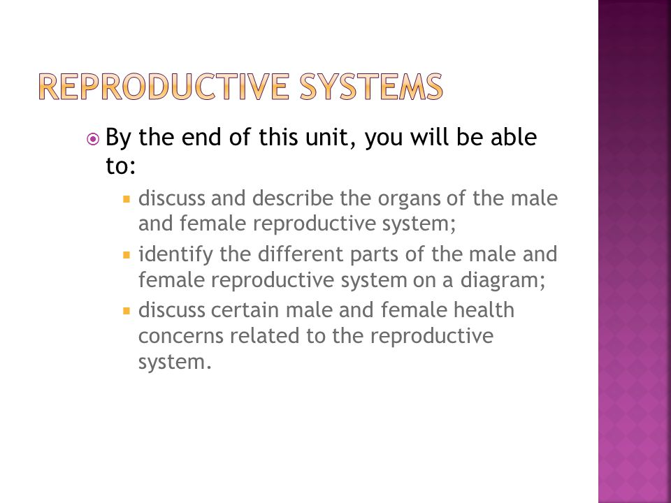 Reproductive Systems By the end of this unit, you will be able to: