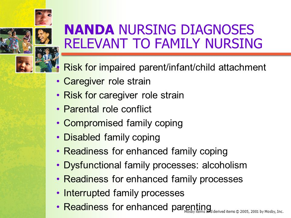 family nursing diagnosis A family nursing diagnosis is an extension of a nursing diagnosis to the family system and/or subsystems and is the this document will focus on writing wellness.