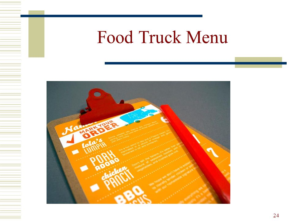 From design to evaluation for all types of menu s ppt for Design food truck online