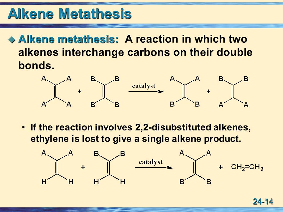 alkene metathesis Olefin metathesis, or alkene metathesis, is an important process in petroleum refining and in the synthesis of important compounds such as pharmaceuticals the mechanism of olefin metathesis is related to pericyclic reactions like diels alder and [2+2] reactions in other words, it occurs through.