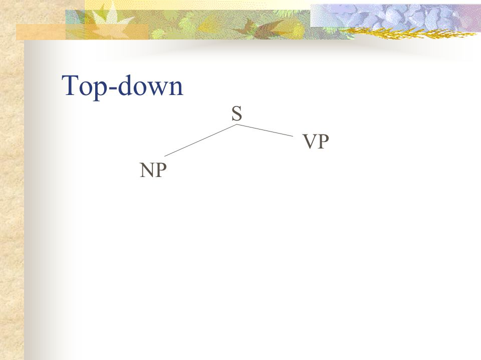 Top-down S VP NP