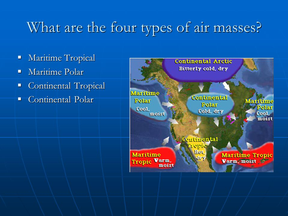 What are the four types of air masses