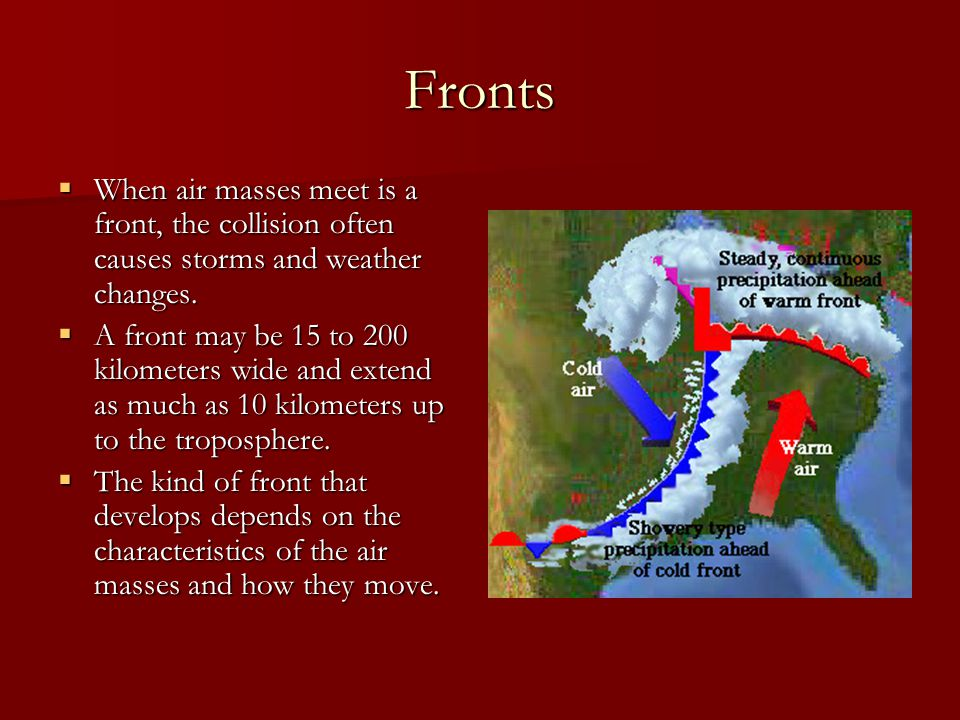 Fronts When air masses meet is a front, the collision often causes storms and weather changes.