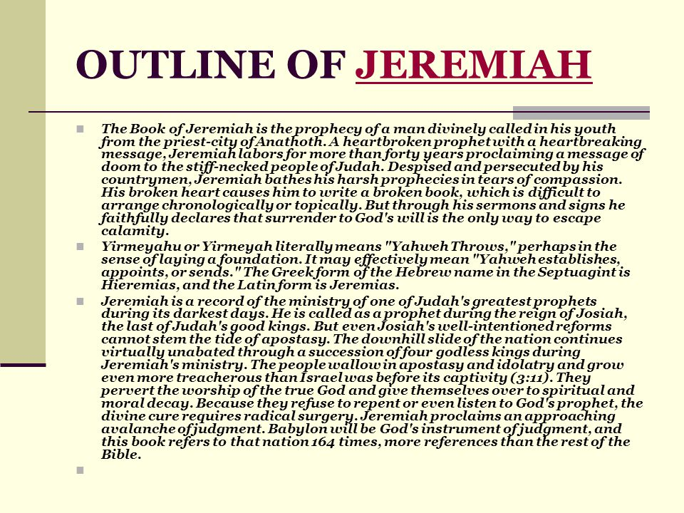 outline of jeremiah