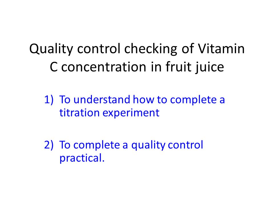 vitamin c concentration lab report Ascorbic acid (vitamin c) is a relatively cheap, structurally simple, water soluble organic acid--  you will need to include this concentration information as part of your data rinse a buret with 3 small (~5 ml) portions of the naoh solution, and then fill the buret with  for the lab report, show the calculations for one trial of the.