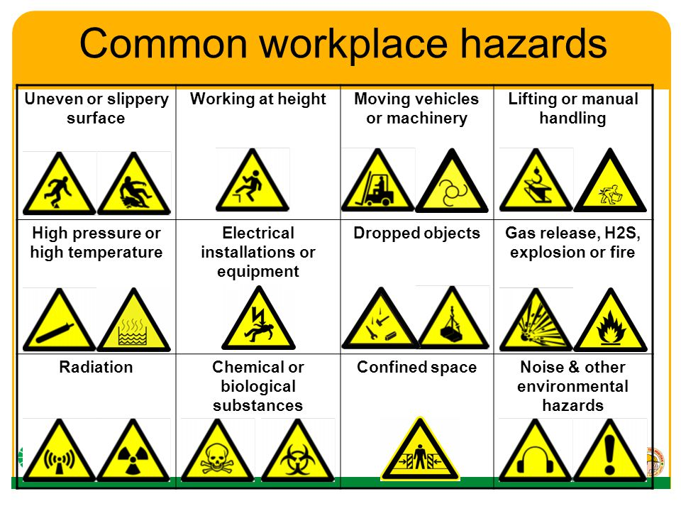 common hazards You are required by law to control all potential safety hazards in your workplace the type of hazards in your workplace will depend on the environment you work in and the work you do inspectors will often look to check common hazards are controlled in community services settings the working in the not.