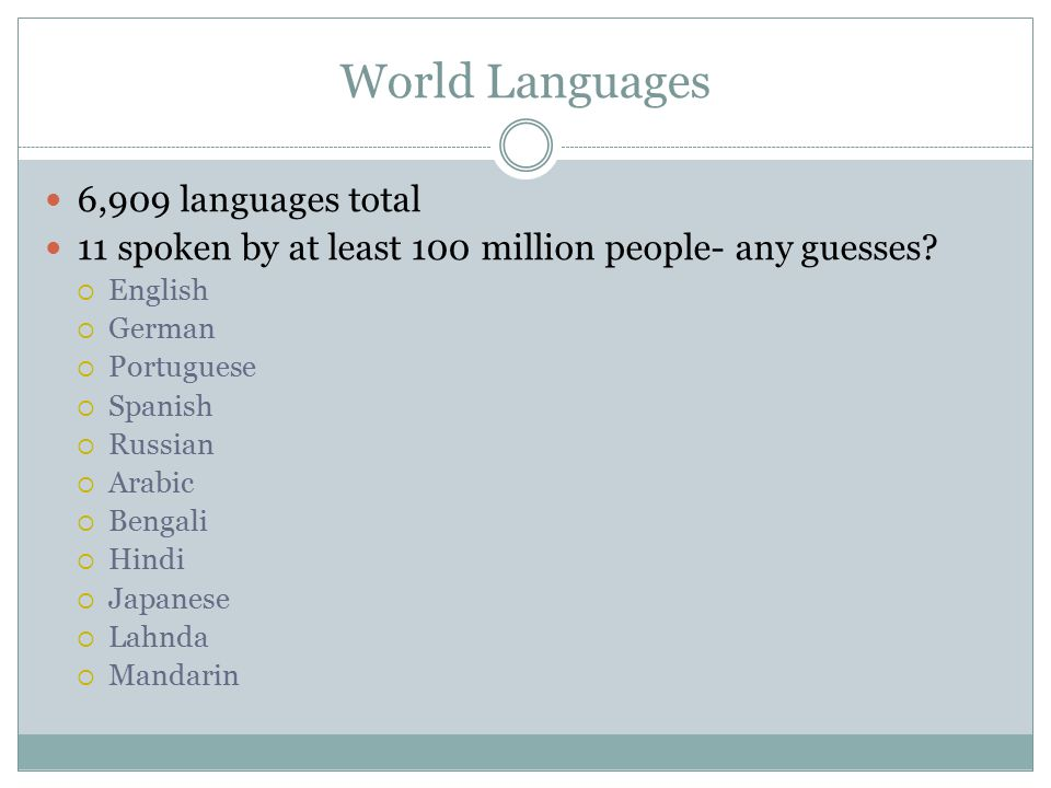 Chapter Language Key Issue Ppt Video Online Download - Total languages in world