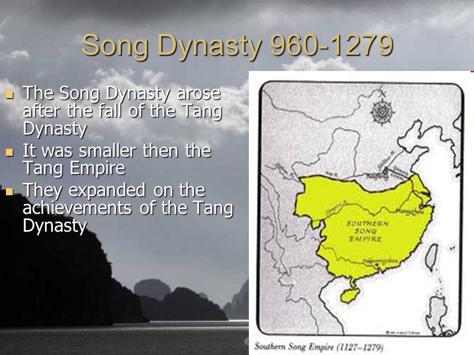 the inception and history of the song dynasty from 960 to 1279 Song dynasty, 960-1279: after the han and tang dynasties, the song dynasty is considered the third golden age of chinese civilization, with important progress in literature, philosophy and science.