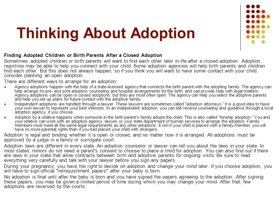 open adoption vs closed adoption essays Open adoption benefits every party involved - the definition of adoption is a social, emotional, and legal progress though which children who will not be raised by their birth parents become full, permanent and legal members of another family (ethical.