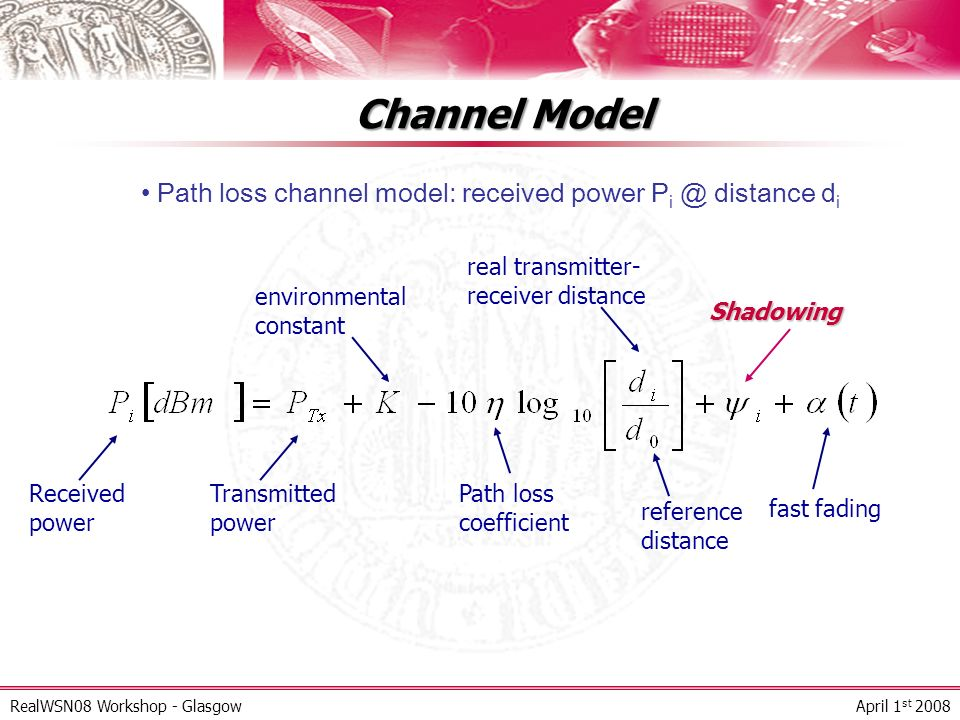 Channel Model Path loss channel model: received power Pi @ distance di