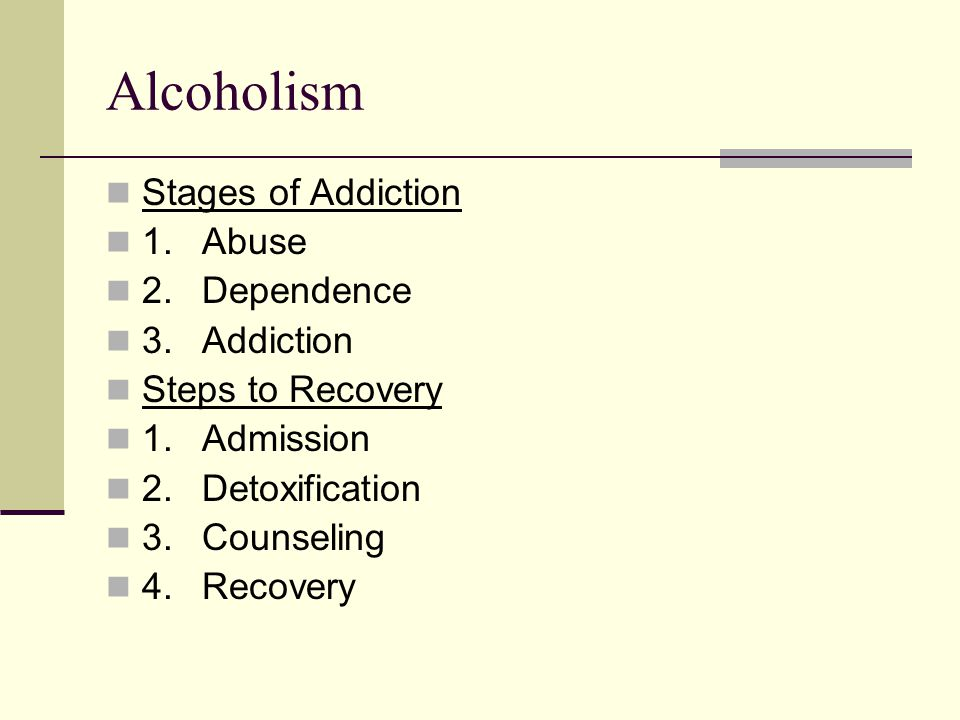 Alcoholism Stages of Addiction 1. Abuse 2. Dependence 3. Addiction