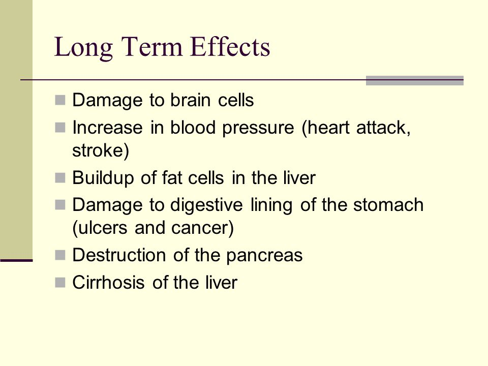 Long Term Effects Damage to brain cells