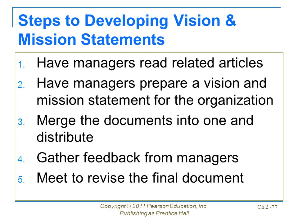 Developing vision and mission statements