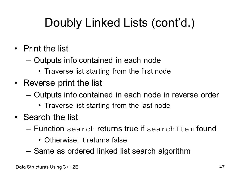 double linked list in c