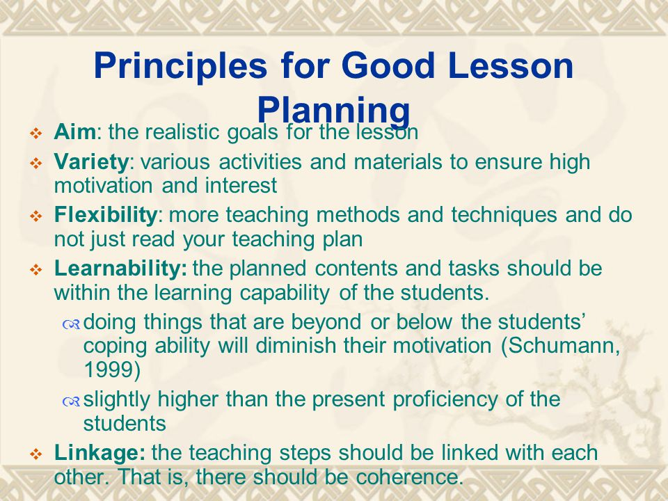 Principles for Good Lesson Planning