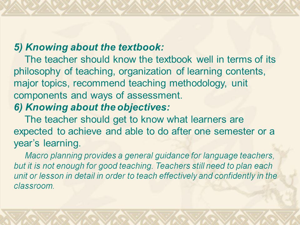 5) Knowing about the textbook: